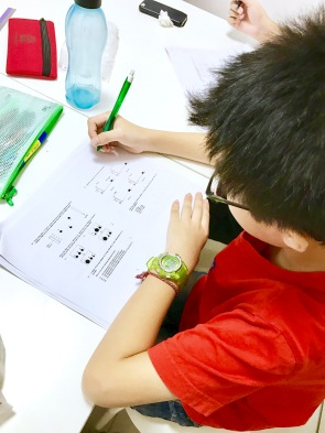 Science Tuition Punggol Primary 5 attempting MCQ section for End of Year Examinations. Past Year Primary Exam Papers